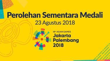 Berikut jumlah perolehan sementara medali Asian Games 2018 hingga pukul 17.00 WIB tanggal 23 Agustus 2018.