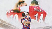 Ilustrasi - Thierry Henry & Dennis Bergkamp, Lionel Messi & Luis Suarez (Bola.com/Adreanus Titus)