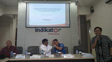 Lembaga survei Indikator Politik Indonesia merilis hasil elektabilitas pasangan capres-cawapres jelang Pemilu 17 April 2019. (Merdeka.com)