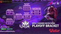 Sedang Berlangsung, Live Streaming Babak Play Off Top Clans Dota 2 2021 di Vidio Pekan Ini. (Sumber : dok. vidio.com)