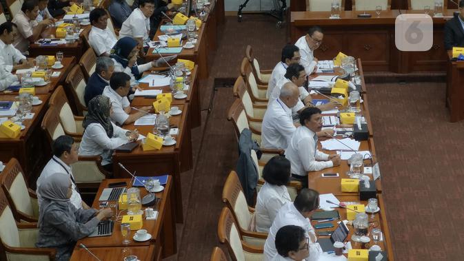 Raker Kementerian Komunikasi dan Informatika dengan Komisi I Dewan Perwakilan Rakyat (DPR) RI. (Liputan6.com/ Agustinus Mario Damar)