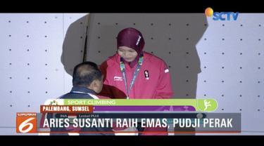 Untuk pertama kali, atlet panjat tebing putri Indonesia, Aries Susanti Rahayu sumbang medali emas di nomor kecepatan perorangan.