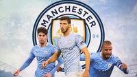 Manchester City - John Stone, Ruben Diaz, Kyle Walker (Bola.com/Adreanus Titus)