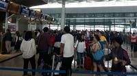 Arus Balik Lebaran di Bandara Soetta. (Liputan6.com/Pramita)