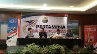 Sesi konferensi pers jelang peneyelenggaraan Kejuaraan Nasional (PBSI) di Hotel Sultan, Jakarta, Senin (7/12/2015).