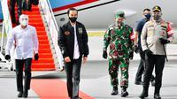 Presiden Jokowi tiba di Kabupaten Tapanuli Utara dengan Pesawat Kepresidenan Indonesia-1 melalui Pangkalan TNI AU Halim Perdanakusuma. (Istimewa)