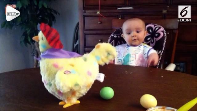 Tingkah polah lucu seorang anak balita terekam oleh kamera mendadak dan viral di jagat maya. Ia terkejut ketika melihat mainan ayamnya bisa mengeluarkan telur.