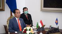 Presiden Jokowi mengikuti pertemuan KTT ASEAN secara virtual pada Selasa 14 April 2020 guna membahas pandemi Corona COVID-19. (Dok: Sekretariat Presiden)