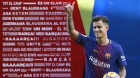 Philippe Coutinho sementara memimpin top transfer 2017/2018 setelah didatangkan Barcelona dari Liverpool dengan mahar sebesar 160 juta euro. (AFP/ Lluis Gene)