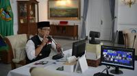 Gubernur Jawa Barat Ridwan Kamil membuka secara virtual pertemuan nasional Masika - ICMI dari Gedung Pakuan Kota Bandung, Sabtu (21/8/2021). (Foto: Biro Adpim Jabar)