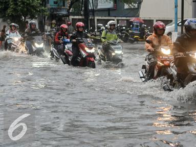 Pemotor menerobos banjir di kawasan Kemang, Jakarta, Jumat (11/11). Banjir di kawasan ini mencapai lutut orang dewasa. (Liputan6.com/Yoppy Renato)