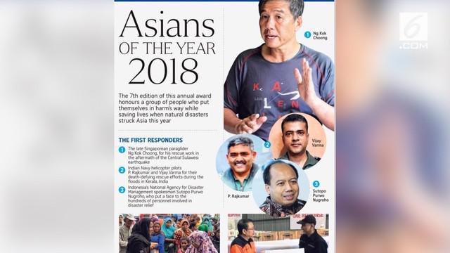 Sutopo Purwo Nugroho menjadi salah satu penerima penghargaan The First Responders, dalam ajang tahunan The Straits Times Asians of the Year.