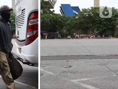 Foto kiri menggambarkan situasi Terminal Kampung Rambutan pada Senin (30/3/2020). Foto kanan menggambarkan situasi Terminal Kampung Rambutan pada Sabtu (25/4/2020). Guna memutus mata rantai penularan Covid-19, pemerintah resmi melarang mudik pada Jumat (24/4) lalu. (Liputan6.com/Helmi Fithriansyah)