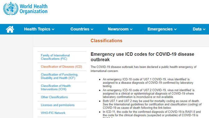 Kode untuk COVID-19 (WHO)