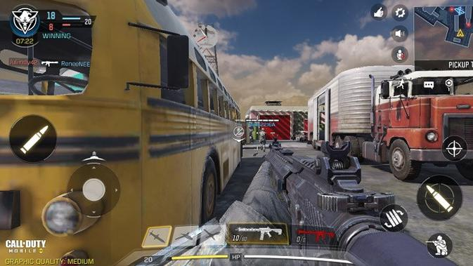 Mencoba bermain Call of Duty Mobile di Redmi 8A (Liputan6.com/Agustinus M.Damar)