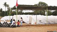 Bilik Barokah pengganti bilik mesra di lingkungan pengungsian korban gempa Lombok. (LALU MOHAMMAD/LOMBOK POST/Jawa Pos Group)