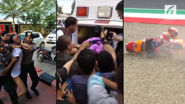 Video hit hari ini datang dari rekaman Marquez yang terjatuh saat menjalani GP Italia, pemakaman perawat Palestina yang ditembak tentara Israel, serta seorang pria yang tiba-tiba menerobos Polresta Samarinda.