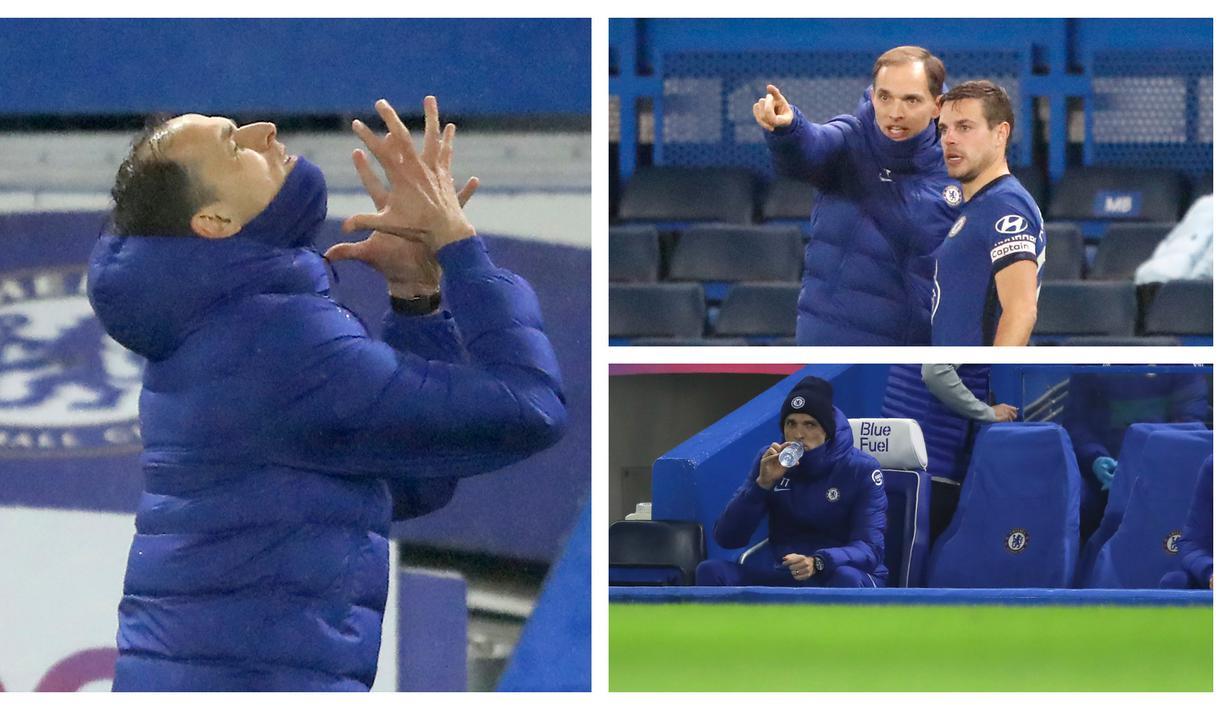 Partai debut Thomas Tuchel sebagai manajer Chelsea tersaji di Stamford Bridge kala menjamu Wolverhampton dalam laga lanjutan Liga Inggris pekan ke-20, Rabu (27/1/2021) dengan hasil imbang 0-0. Berbagai momen tersaji mewarnai debut sang manajer asal Jerman tersebut. (Kolase Foto AP)
