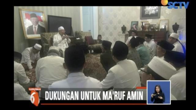 Para ulama ini datang untuk bersilaturahmi sekaligus memberikan dukungan kepada Ma'ruf Amin sebagai cawapres dari capres Joko Widodo.