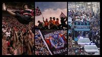 Suporter Persib Bandung dan Persija Jakarta. (Dok Bola.com)