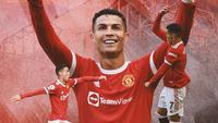 Manchester United - Ilustrasi Gol Cristiano Ronaldo (Bola.com/Adreanus Titus)