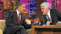 Jay Leno saat mewawancarai mantan Presiden Amerika Serikat Barack Obama (sumber: chicagotribune.com)