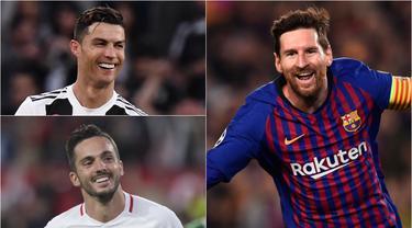 Umur tak menghalangi Cristiano Ronaldo dan Lionel Messi menjadi kandidat pemain terbaik eropa musim 2018/19. Menurut Media AS berikut daftar calon pemain terbaik eropa musim 2018/2019. Data hingga Selasa (23/4). (Kolase Foto AFP)