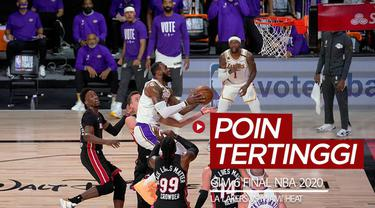 Berita video para pencetak poin tertinggi pada gim 6 Final NBA 2020, di mana LA Lakers menang 106-93 atas Miami Heat, Senin (12/10/2020) pagi hari WIB.