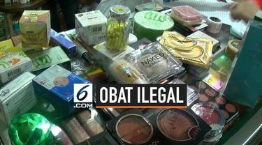 BPOM menyita ratusan obat dan komestik illegal di Pasar Jatinegara, Jakarta Timur.