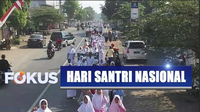 Ribuan santri di Jember, Jawa Timur, menggelar kirab untuk menyambut Hari Santri Nasional.