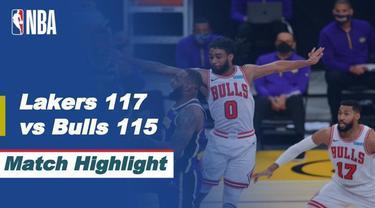 Berita video highlights NBA 2020/2021 antara LA Lakers melawan Chicago Bulls yang berakhir dengan skor tipis 117-115, Sabtu (9/1/2021) siang hari WIB.