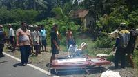 Kecelakaan moge atau motor gede di Jalur Pansela, ruas desa Karanggadung, Kebumen yang menewaskan seorang pria berusia 75 tahun. (Foto: Liputan6.com/Istimewa/Muhamad Ridlo)