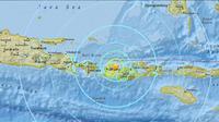USGS menyebut gempa yang mengguncang Lombok Minggu malam memiliki magnitudo 7,2 SR, sebelum akhirnya merevisinya menjadi 6,2 SR (Credit: USGS)
