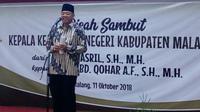 Bupati Malang Rendra Kresna berpidato dalam acara pisah sambut Kepala Kejaksaan Negeri di Pendopo Kabupaten Malang (Liputan6.com/Zainul Arifin)