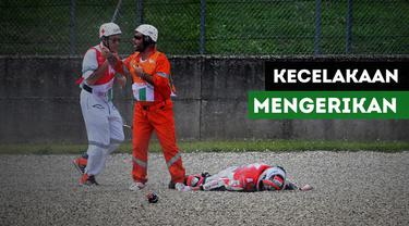 Pembalap cadangan tim Ducati, Michele Pirro mengalami kecelakaan parah pada sesi FP2 MotoGP Italia di Sirkuit Mugello.
