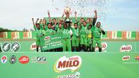 SDN 064011 Mabar berhasil keluar sebagai juara MILO Football Championship Medan. (Liputan6.com/Reza Efendi)