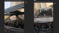 Momen mobil Via Vallen terbakar orang tak dikenal. (Sumber: Instagram/@viavallen)