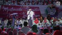Cawapres nomor urut 01 Ma'ruf Amin memberi sambutan dalam deklarasi Arus Baru Muslimah di Istora Senayan,  Jakarta, Minggu (24/2). Arus Baru Muslimah menilai Jokowi-Ma'ruf punya visi misi majukan program keumatan. (Liputan6.com/Faizal Fanani)