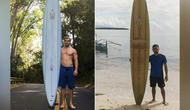Papan selancar milik Doug Falter (kiri) yang hilang di Hawaii, ditemukan oleh Giovanne Branzuela (kanan) di Filipina. (Photo: AFP/BRENT BIELMAN/COURTESY OF GIOVANNE BRANZUELA)