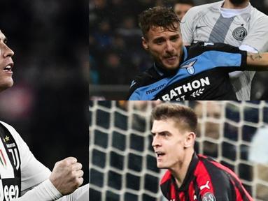 Dengan absen nya Ronaldo pada dua pertandingan terakhir di Serie A membuat pemain 34 tahun tersebut gagal menambahkan pundi-pundi gol. Akibatnya raihan gol kapten timnas Portugal tersebut semakin tertinggal oleh para kompatriotnya. (Kolase Foto AFP)