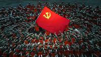 Penampil berpakaian seperti petugas penyelamat berkumpul di sekitar bendera Partai Komunis selama pertunjukan gala menjelang peringatan 100 tahun berdirinya Partai Komunis China di Beijing, China, 28 Juni 2021. Partai Komunis China akan merayakan HUT ke-100 pada 1 Juli 2021. (AP Photo/Ng Han Guan)
