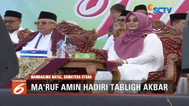 Ma'ruf Amin hadiri tabligh akbar di Lapangan Pasir Putih, Mandailing Natal, Tapanuli Selatan.