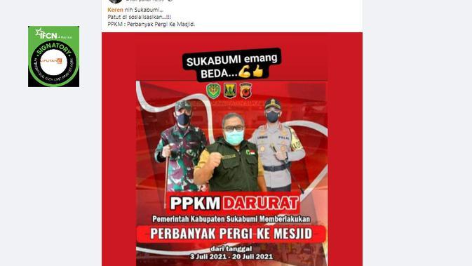 Cek Fakta Liputan6.com menelusuri klaim Pemkab Sukabumi berlakukan perbanyak pergi ke masjid saat PPKM darurat