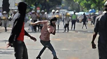 Ilustrasi Bentrok Warga vs Polisi