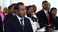 Perdana Menteri Taur Matan Ruak saat pelantikannya di Dili, Timor Leste, pada Juni 2018. (AP Photo/Kandhi Barnez)