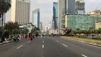 Car free day (CFD) tetap berlangsung di Bundaran HI, Thamrin, Jakarta Pusat pada Ramadan ini. (Liputan6.com/Ratu Annisaa Suryasumirat)