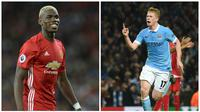 Paul Pogba vs Kevin De Bruyne (AFP/Oli Scarff/Paul Ellis)
