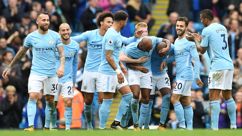 Manchester City bidik kemenangan lawan Palace.  (AFP/Paul Ellis)