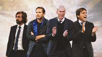 Ilustrasi - Andrea Pirlo, Frank Lampard, Zinedine Zidane, Antonio Conte (Bola.com/Adreanus Titus)