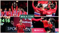 Road to Champions Indonesia di Piala Thomas 2020: Bersakit-sakit Dahulu, Happy Ending Kemudian. (Photo by Claus Fisker / Ritzau Scanpix, Grafis Wiwig Prayugi)